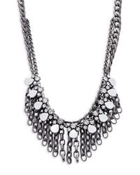 Gerard Yosca | Metallic Crystal And Chainlink Linear Drop Layered Necklace | Lyst
