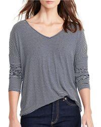 Lauren by Ralph Lauren | Blue Striped Jersey V-neck Tee | Lyst