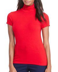 Lauren by Ralph Lauren   Red Petite Short Sleeve Turtleneck Jersey   Lyst