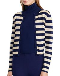 Lauren by Ralph Lauren | Blue Round Neck Button Front Striped Metallic Cardigan | Lyst