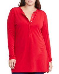 Lauren by Ralph Lauren | Red Plus Long Sleeve Jersey Henley Top | Lyst