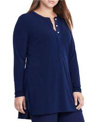Lauren by Ralph Lauren   Blue Plus Long Sleeve Jersey Henley Tunic   Lyst