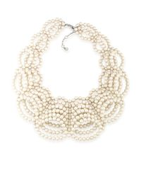 Carolee   White Silver-tone Imitation Pearl Collar Necklace   Lyst