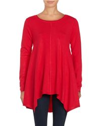 Lord & Taylor | Red Aymmetrical Tunic Sweater | Lyst