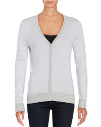 Lord & Taylor | Gray Mini-striped Cardigan | Lyst