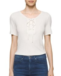 Calvin Klein | White Lace-up Short Sleeve Solid Tee | Lyst