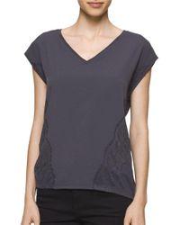 Calvin Klein | Multicolor Short Sleeve V-neck Top | Lyst