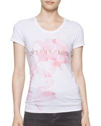 Calvin Klein | White Flower Logo Cotton Tee | Lyst