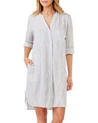 DKNY   Gray Long Sleeve Boyfriend Sleepshirt   Lyst