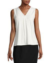 Calvin Klein | White V-neck Shell | Lyst