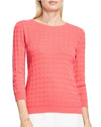 Vince Camuto | Pink Petite Dot Stitch Textured Sweater | Lyst