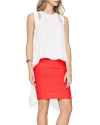 BCBGMAXAZRIA | White Sheilah Cutout High-low Top | Lyst