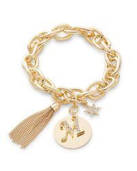 R.j. Graziano   Metallic M Initial Chain-link Charm Bracelet   Lyst