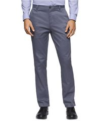 Calvin Klein | Blue Stretch-cotton Tapered Pants for Men | Lyst