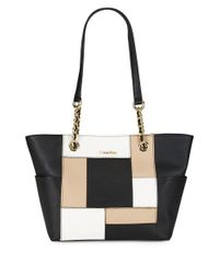 Calvin Klein | Black Patchwork Leather Tote | Lyst
