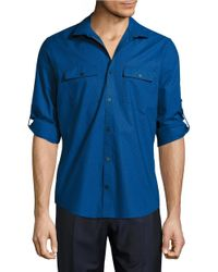Calvin Klein | Blue Textured Cotton Sportshirt for Men | Lyst