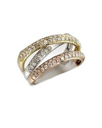 Effy | Pink Diamond, 14k White, Yellow And Rose Gold Ring, 0.98 Tcw | Lyst
