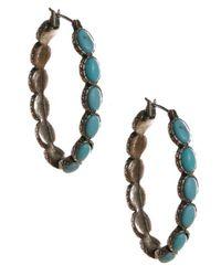 Lucky Brand Metallic Silvertone Turquoise Hoop Earrings