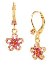 Betsey Johnson - Metallic Crystal Flower Drop Earrings - Lyst