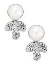 Nadri | White Crystal Leaf Drop Pearl Earrings | Lyst