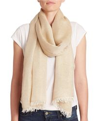 Lord & Taylor - Natural Shimmer Frayed Scarf - Lyst