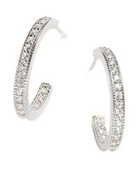 Lord & Taylor - White Sterling Silver Pave Hoop Earrings - Lyst