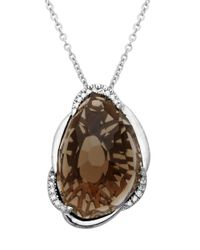 Lord & Taylor | Metallic Sterling Silver Necklace With Smokey Topaz Pendant | Lyst