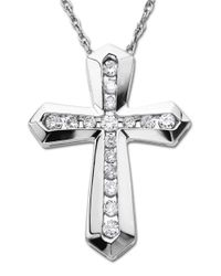 Lord & Taylor | Multicolor Diamond And Sterling Silver Cross Pendant Necklace | Lyst