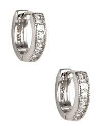 Judith Jack | Metallic Sterling Silver And Crystal Hoop Earrings | Lyst