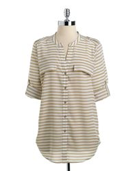 Calvin Klein | Natural Striped Roll-tab Button-down Blouse | Lyst