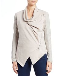 Blank | Brown The Draped Faux Leather Jacket | Lyst