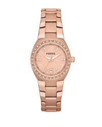 Fossil | Pink Ladies Rose Goldtone And Crystal Watch | Lyst