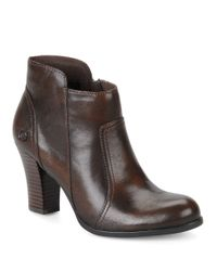 Born | Brown Claire Leather High-heel Booties | Lyst