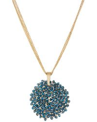 Kenneth Cole | Metallic Gemstone Pendant Drop Necklace | Lyst