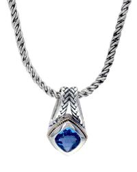 Effy - Sterling Silver And 18k Yellow Gold Blue Topaz Pendant Necklace - Lyst