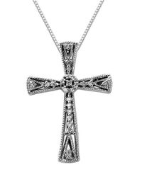 Lord & Taylor - Metallic Diamond And Sterling Silver Cross Pendant Necklace - Lyst