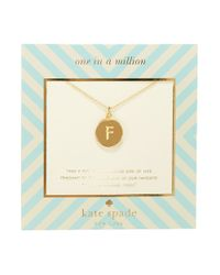 kate spade new york - Metallic One In A Million Letter F Pendant Necklace - Lyst