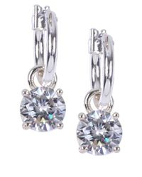 Anne Klein - Metallic Crystal Drop Hoop Earrings - Lyst
