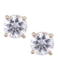 Anne Klein | Metallic Goldtone Cubic Zirconia Stud Earrings | Lyst