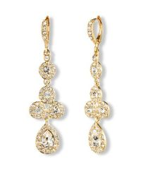 Givenchy | Metallic 10Kt. Gold And Crystal Linear Pear Drop Earrings | Lyst
