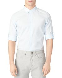 Calvin Klein | Blue Slim Fit Woven Sportshirt for Men | Lyst