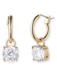 Anne Klein | Metallic Goldtone Hoop And Cubic Zirconia Drop Earrings | Lyst