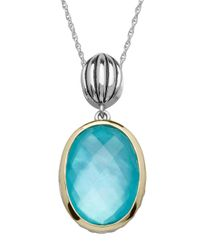 Lord & Taylor | Blue Sterling Silver 14kt. Yellow Gold And Quartz Doublet Pendant Necklace | Lyst