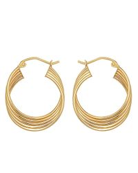 Lord & Taylor | Metallic 14kt. Yellow Gold Four Row Hoop Earrings | Lyst