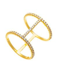 Lord & Taylor | Metallic Goldtone And Cubic Zirconia Tiered Ring | Lyst