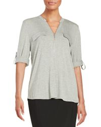 Calvin Klein | Gray Zip-accented Knit Top | Lyst