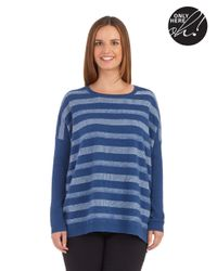 Lord & Taylor | Blue Petite Striped Cashmere Sweater | Lyst