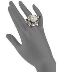 Uno De 50 | Metallic Pearl Statement Ring | Lyst