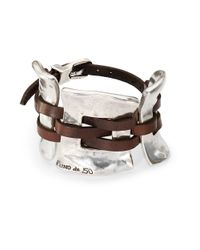 Uno De 50 | Metallic Silver And Leather Cuff Bracelet | Lyst