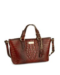 Brahmin | Red Mini Asher Embossed Leather Satchel Bag | Lyst